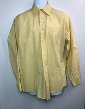 Nautica Men's Casual Dress Long Sleeve Shirt Yellow Blue Plaid 100% Cotton