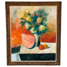 Large Oil on Canvas Painting Still Life Flowers w/ Watermelon by Hook