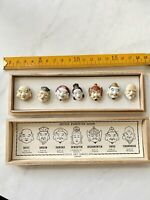 Toshikane Porcelain Seven Fortune Gods Buttons Japan NEW UNUSED in Box