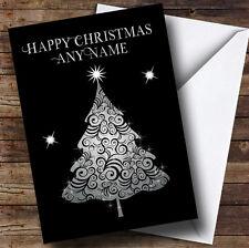 Pretty ARGENTO twinkly albero personalizzato cartolina di Natale