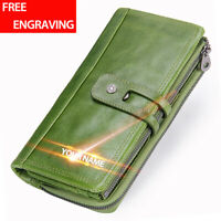 Genuine Leather Long Wallet For Women RFID Block Bifold Card Holder Clutch Purse