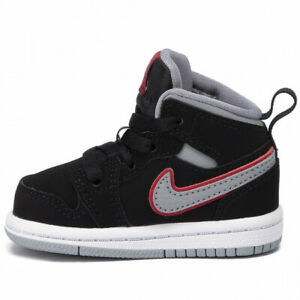 Nike Jordan 1 Mid TD Baby Shoes 640735-060 Black Grey Red White Retro 5c