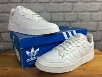 ADIDAS ORIGINALS MENS UK 6 EU 39 1/3 SUPERCOURT WHITE LEATHER TRAINERS LB