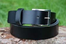 Handmade Real Black Leather Belt 34 mm Width Nickel Plated Buckle