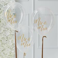 Clear Mr and Mrs Balloons with Gold Script - Wedding / Hen Party - Pack of 5