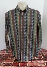 Norm Thompson Brown Green Button Front Long Sleeve Shirt Mens Sz M Casual t