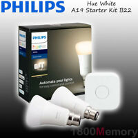 Philips Hue White A60 Warm Starter Kit Bayonet B22 LED Bulb WiFi ZigBee 240V