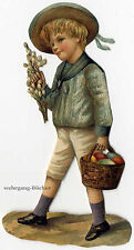 Vintage Victorian die cut paper scrap, Boy with Easter eggs from 1876