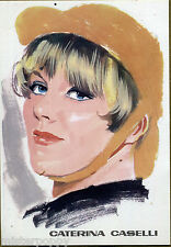 CATERINA CASELLI PC 1966 Cartolina Beat Pop Star Illustratore PICCHIONI