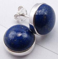 925 Sterling Silver  Well-made LAPIS LAZULI Studs Earrings 1.3CM Nice Jewellery