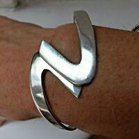 Solid Sterling Silver 925 Hallmarked Modernist Wave Cuff Bangle Bracelet 18g
