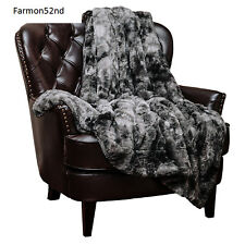 Couch Blanket Throw Gray Super Soft Fuzzy Fur Faux Cozy Warm Fluffy NEW