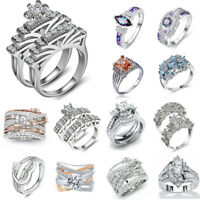 Fashion Women Charm 925 Silver White Sapphire Ring Set Wedding Jewelry Sz5-11