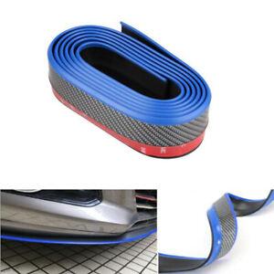 2.5M Front Bumper Lip Splitter Body Chin Trim Spoiler Kit Carbon Fiber&Blue Side