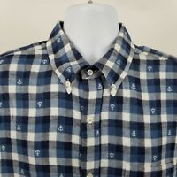 Vince Mens Blue White Check L/S Casual Dress Button Shirt Sz XL