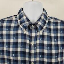 Vince Mens Blue White Check L/S Casual Dress Button Shirt Sz XL