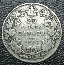 OLD CANADIAN COIN - 1907 - 25 CENTS - QUARTER - .925 SILVER - Edward VII