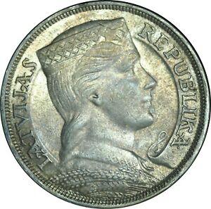 1932 Latvia 5 Lati Silver Crown Choice AU / UNC Condition