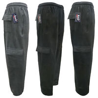 Men's Plain Fleece Cargo Jogging Bottoms Casual Jogger Gym Trouser S-2XL