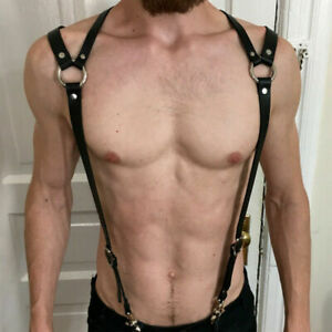 Man's Leather Harness Strap Bondage Gothic Garter Cincture Suspender BDSM Belt