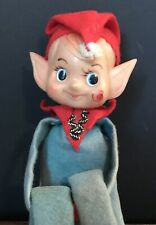 Vintage Knee Hugger Pixie Elf  Christmas Ornament Green Pointy Ears