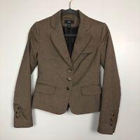 H&M Women's Size 4 Brown 2 piece Multicolour 3 Button Long Sleeve Skirt Suit
