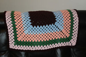 Lovely Hand Made Square Crochet/Knitted Wool Blanket / Throw Blue, Brown, Pink