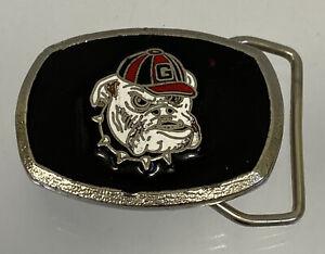 "Vintage UGA Georgia Bulldogs Enamel 2"" Belt Buckle Dawgs Black Silver Football"