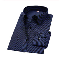 Men's Formal Shirt Striped Wear Long Sleeves Plaid T-shirts Male Clothing Cotton