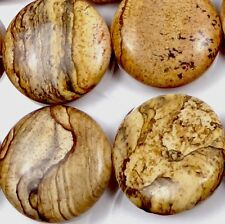 25mm Natural American Picture Jasper Coin Disc Beads (8)
