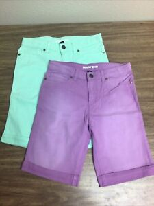 Lands End Girls Size 12 Bermuda Purple And Sea Green Shorts Lot