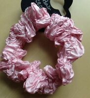 A Pink Crinkled Satin Hair Scrunchie Ponytail Band / Bobble