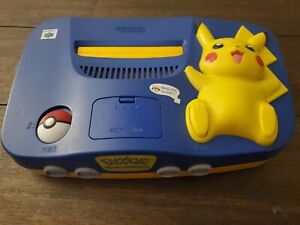 Nintendo 64 Pikachu Pokemon Blue & Yellow Console. Tested expansion pak included