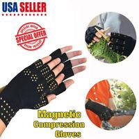 Copper Compression Arthritis Gloves Fingerless Hands Wrist Support Carpal Brace