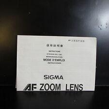Sigma AF Zoom Lens Guide Instruction 70-210mm f2.8 APO 18-35mm 28-70mm f2.8