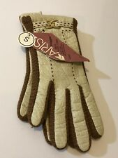 Aris Snuggler - Vtg 70s Tan and Brown Winter Gloves, Faux Leather, Sz Small Nwt