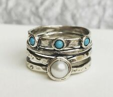 New Women's Ring Turquoise and Pearl Sterling Silver Ring Size 8 Gift Boxed