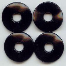 18 VINTAGE JET BLACK ACRYLIC 4x30MM. WAVY DISC BEADS 6402