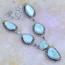 "Handmade Pale Blue Caribbean Larimar 925 Sterling Silver 19.75"" Necklace #H97020"