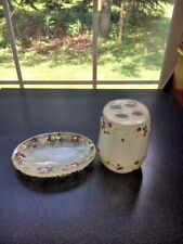 Beautiful Plastic Victorian Rose Toothbrush Holder And Soap Dish Set (#13-3)