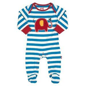 BNWT! Stripy Elephant Babygrow - Sleepsuit. 100% Soft Organic Cotton. UK Stock