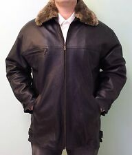 GENUINE LAMB LEATHER COAT JACKET SHEARLING REMOVABLE COLLAR &LINING,EU SIZE 38