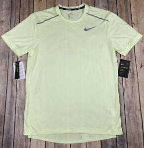 Nike TechKnit Ultra Mens Short Sleeve Running Top Yellow Volt AJ7615-701 Medium