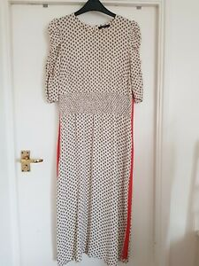 Marks and spencer Limited Edition Dress Size 10,12 Beige With Pattern,midi