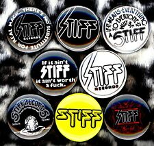 "Stiff Records 8 NEW 1"" buttons pins badges punk english UK STOCKING STUFFER"