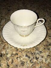 Rare UNGARO PARIS Porcelain TEA CUP & SAUCER MAEBATA Japan Cream & Gold Rimmed