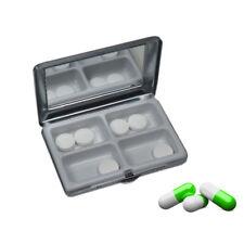 Pillendose Pillenbox Medikamentenbox mit Spiegel und 4-fach Unterteilung Metall