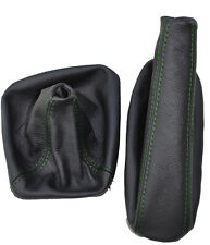 GREEN DOUBLE STITCH FITS BMW E34 LEATHER GEAR HAND BRAKE GAITERS