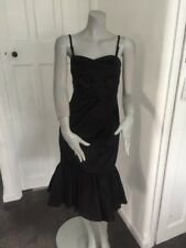 Coast Black Fish Tail Lined Size 8 silk blend Body Con dress with Bow Detail