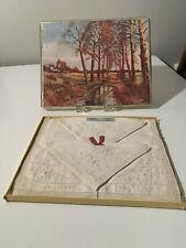 Vintage IRISH CABIN Pure Linen Loom Embroidery & Cutwork Napkins Set of 4 NEW
